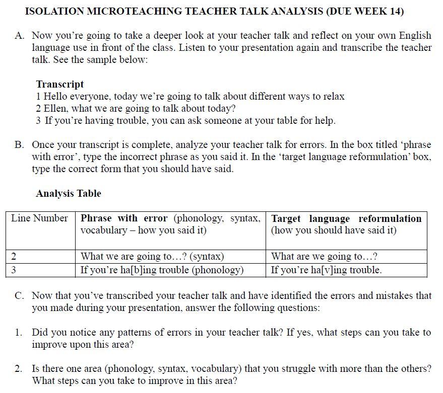 teach talk analysis assigment