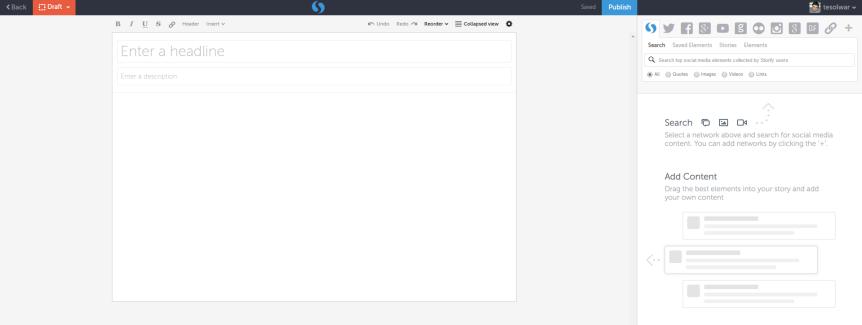 storify main editing page